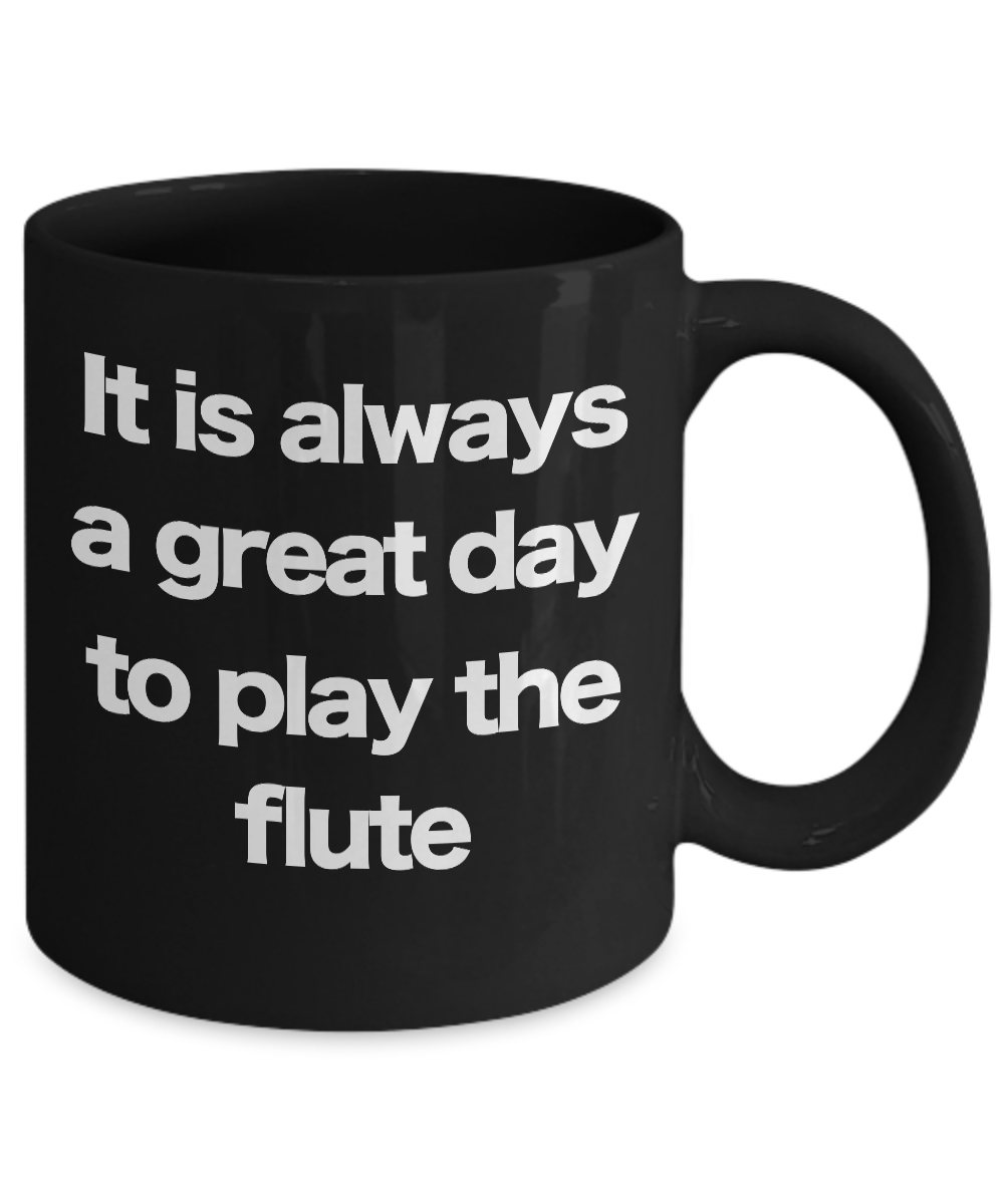 miniature 3 - Flute Mug Black Coffee Cup Funny Gift for Flutist Player Musician Performer