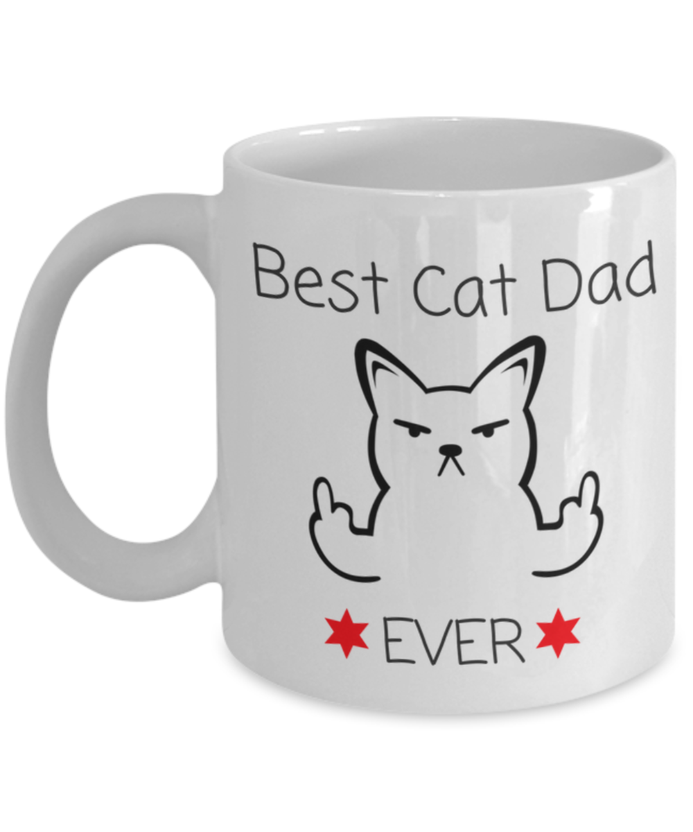 Novelty coffee cup best cat dad ever white ceramic for Best coffee cup ever