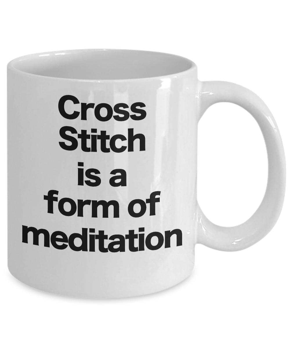 miniature 3 - Cross Stitch Mug White Coffee Cup Funny Gift for Nerdy Geeky Motivational Medita