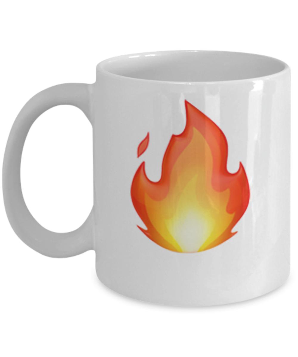 -Emoji Icons Mug - Fire Emoji - 11 & 15 OZ Ceramic Emojies Coffee