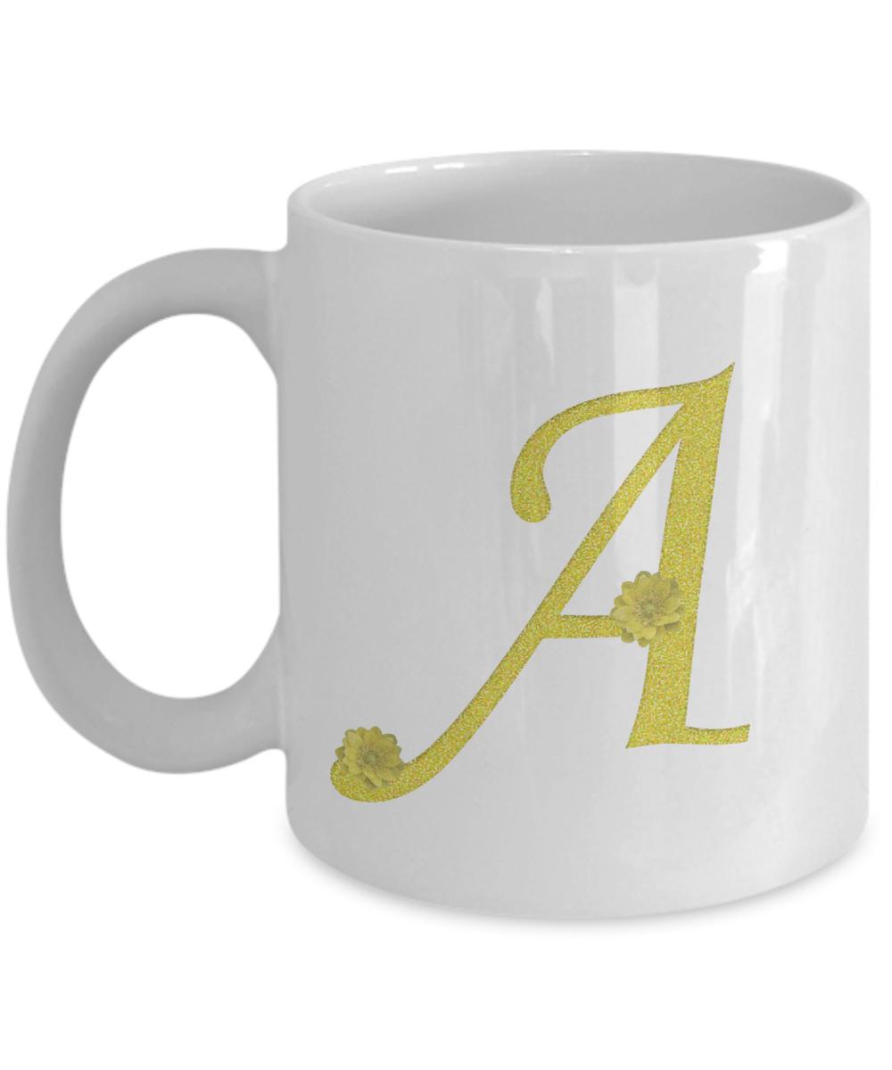 Alphabet letter flower coffee mug cup for Alphabet letter mug