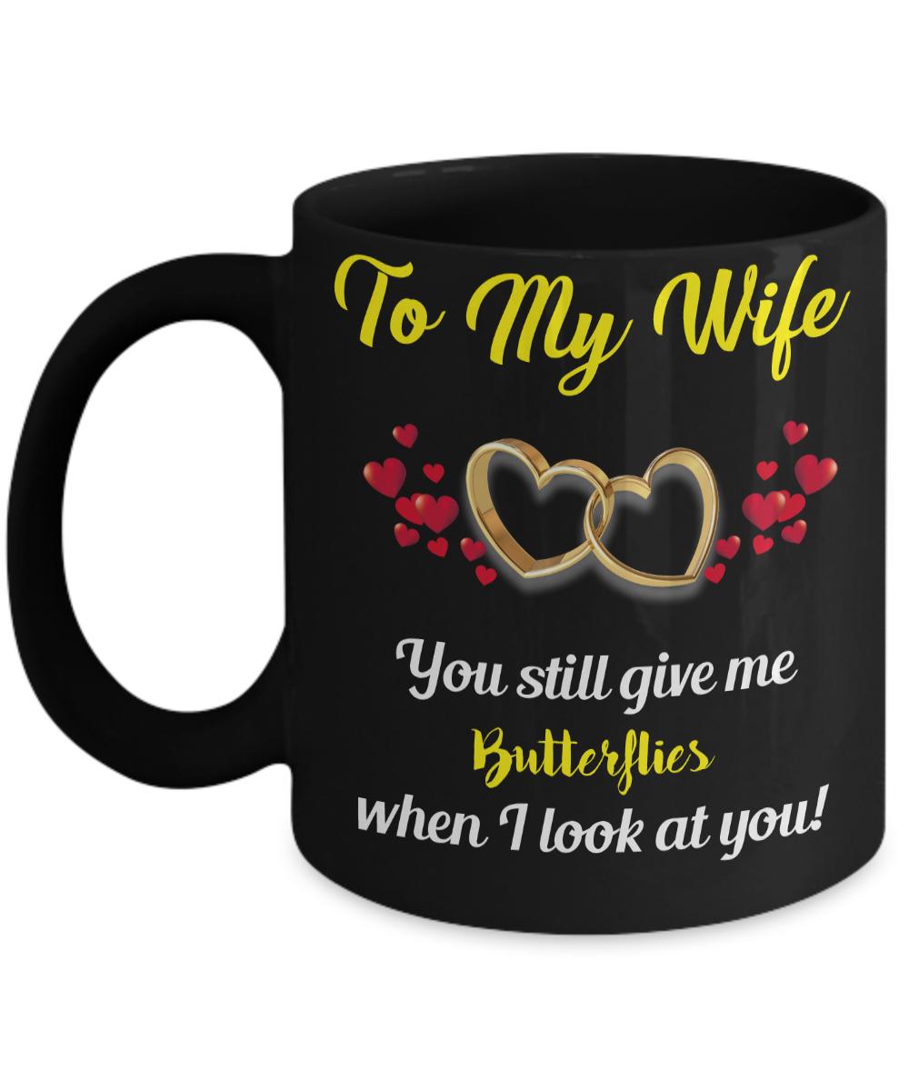 Black coffee mug for your wife. Say I love you.