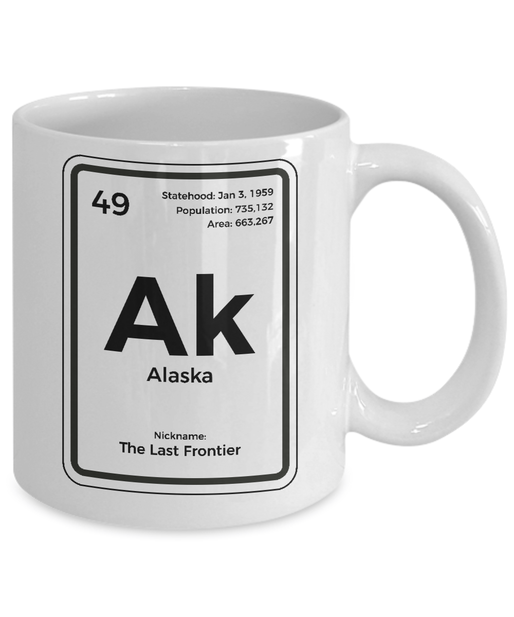 Alaska Periodic Table Coffee Mug Last Frontier State Gift Ebay