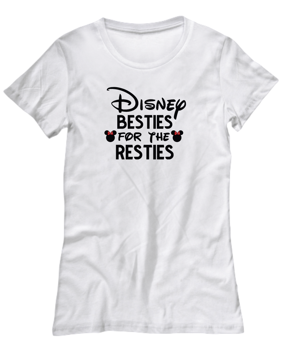 308a0327 Disney Besties for the Resties Funny Shirt Gift for Best Friend BFF  Disneyland Fan Lover Minnie Bow Hoodie Tank Top. Front
