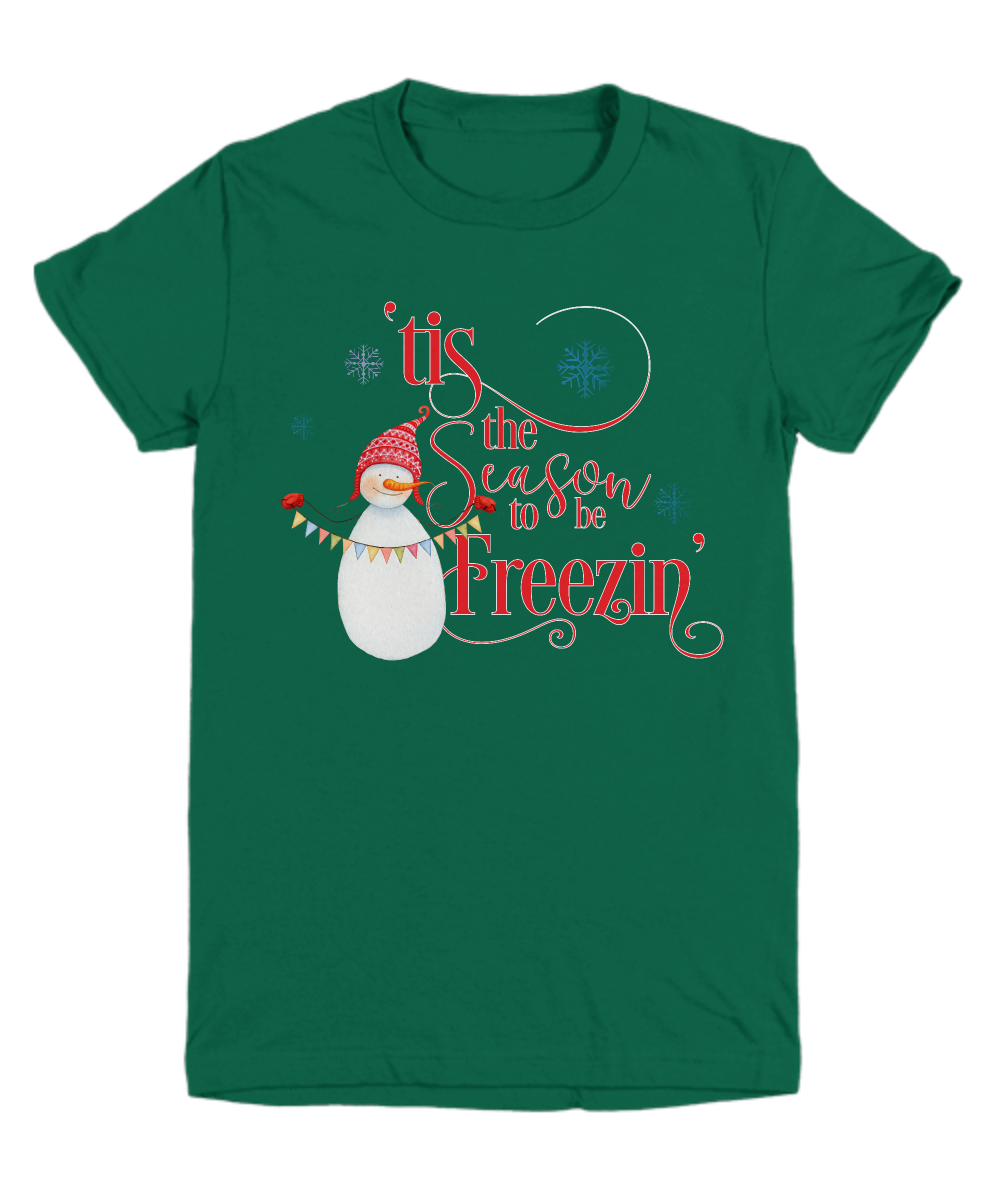 Funny Snowman Tis The Season To Be Freezin Long Sleeve Youth tee