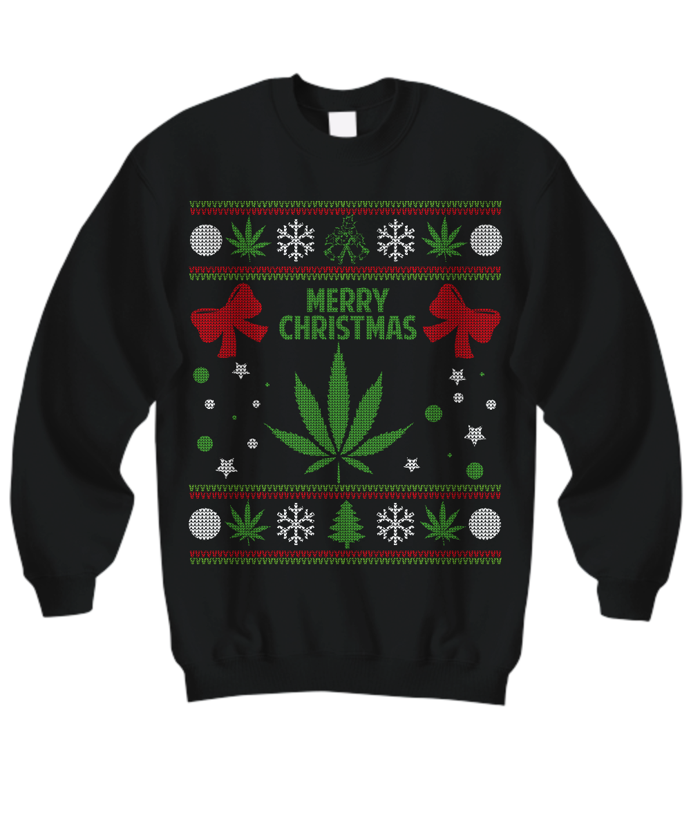 marijuana christmas sweater front