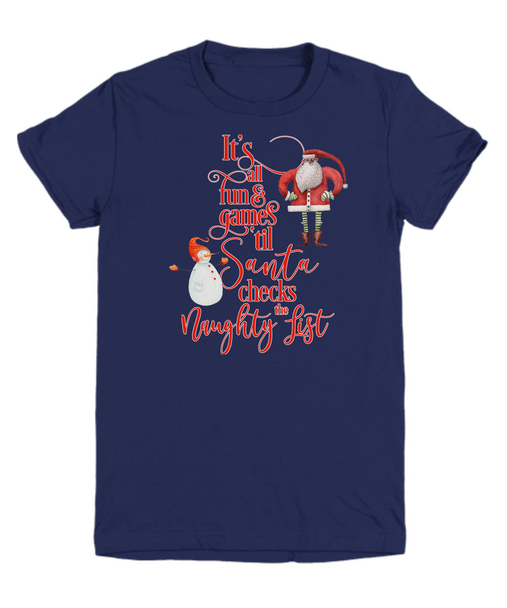 Funny Santa Checks The Naughty List Youth tee