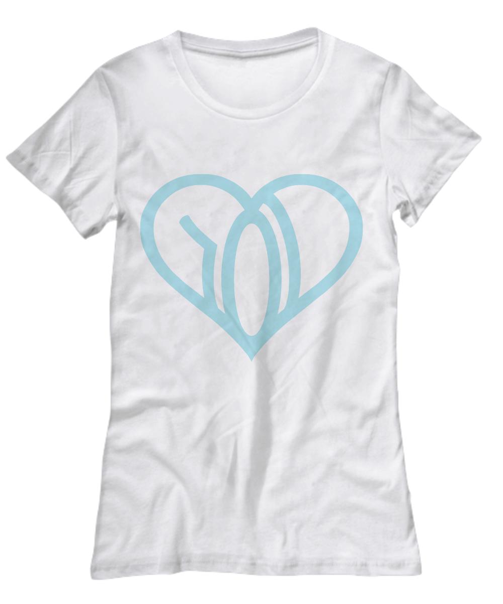 we r love womens tshirt white logo blue