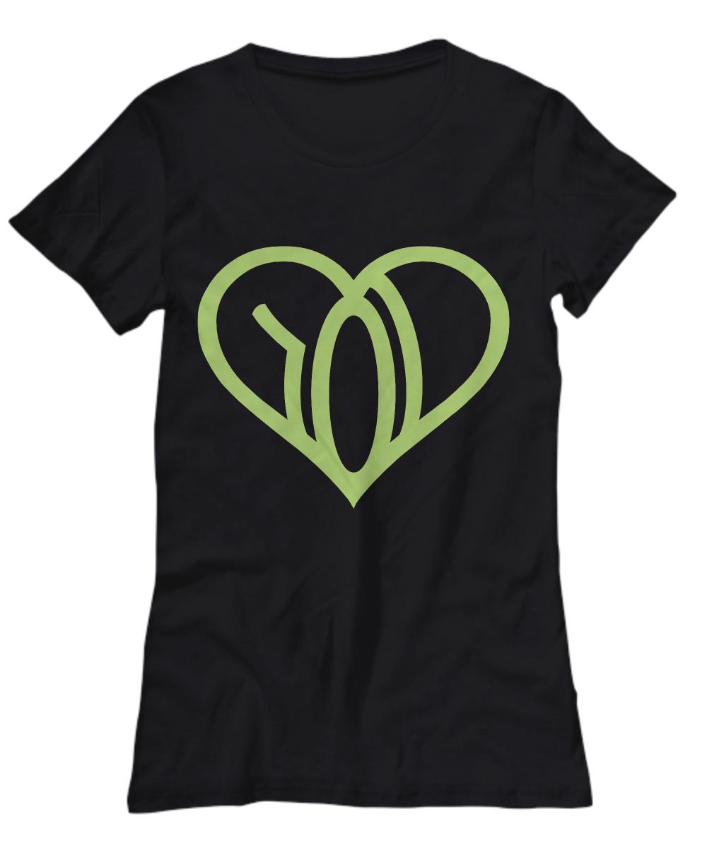 we r love womens tshirt black logo green