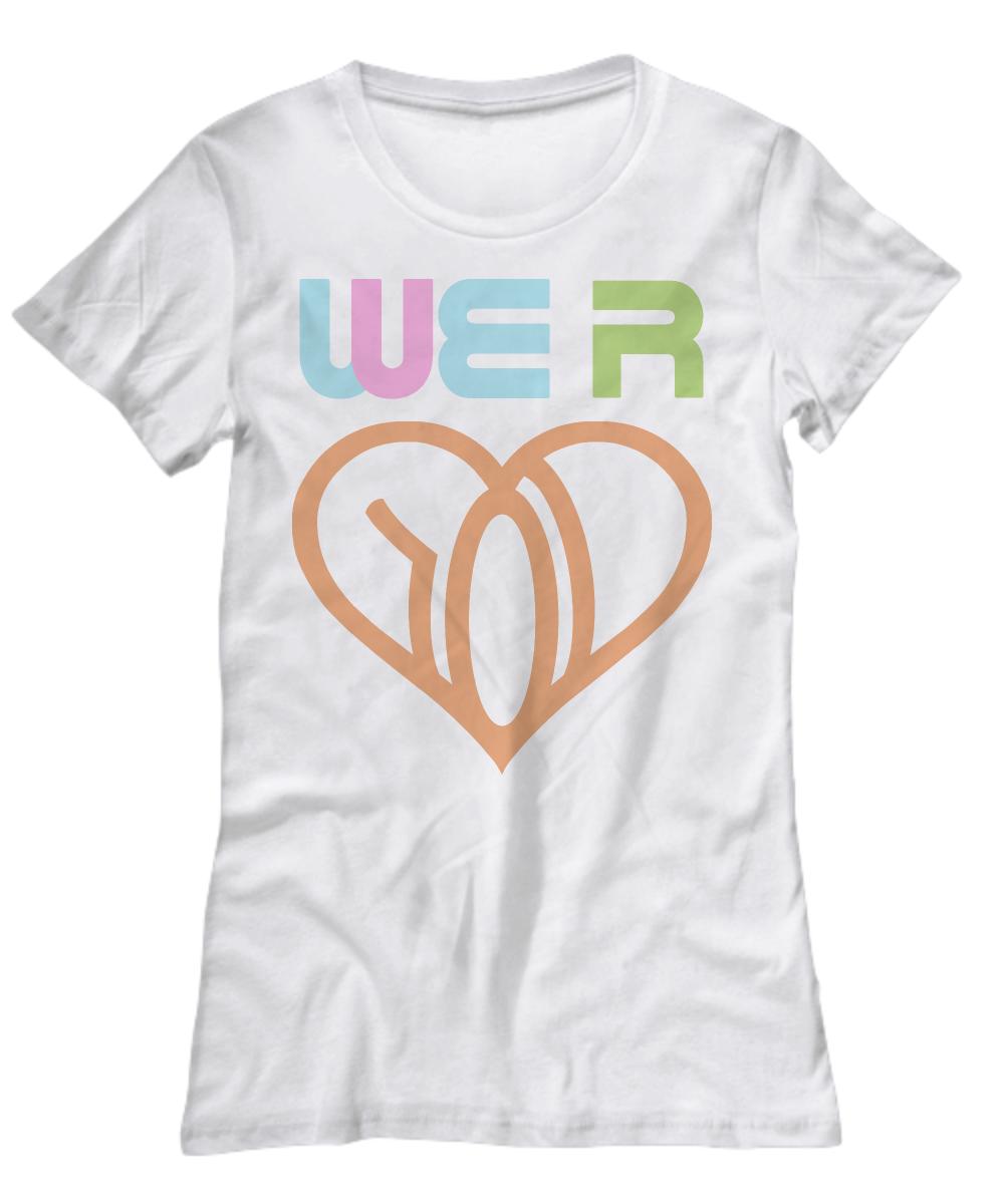 we r love womens tshirt white we r logo orange