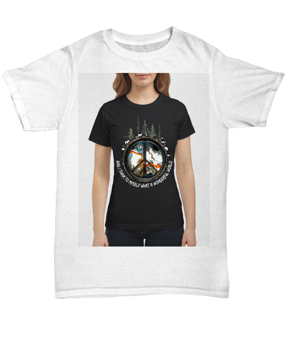56b2839ce06 Hippie Earth And I Think To Myself What A Wonderful World Shirt. Front