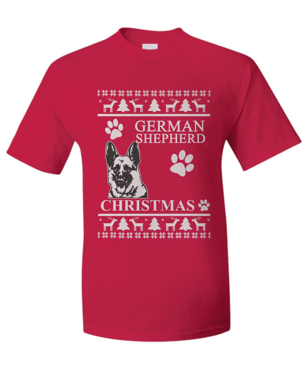 ugly xmas sweater tshirt german shepherd front
