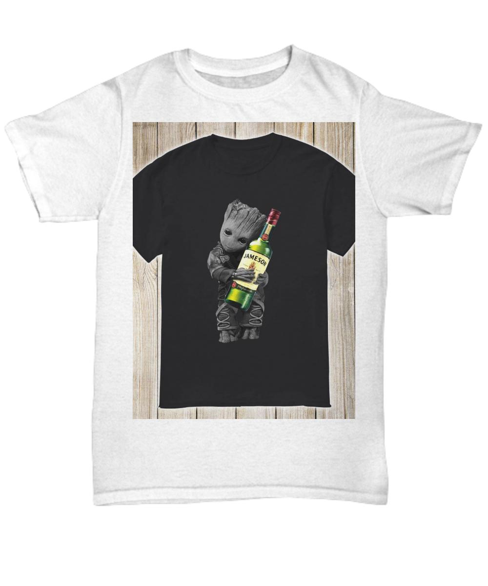 754d9494bad Baby Groot hug Jameson Irish Whiskey shirt. Front