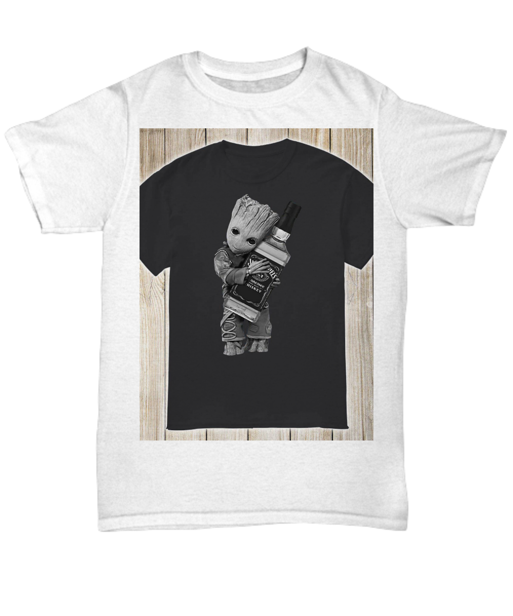 28758282e Baby Groot hug Jack Daniel's tennessee whiskey shirt. Front