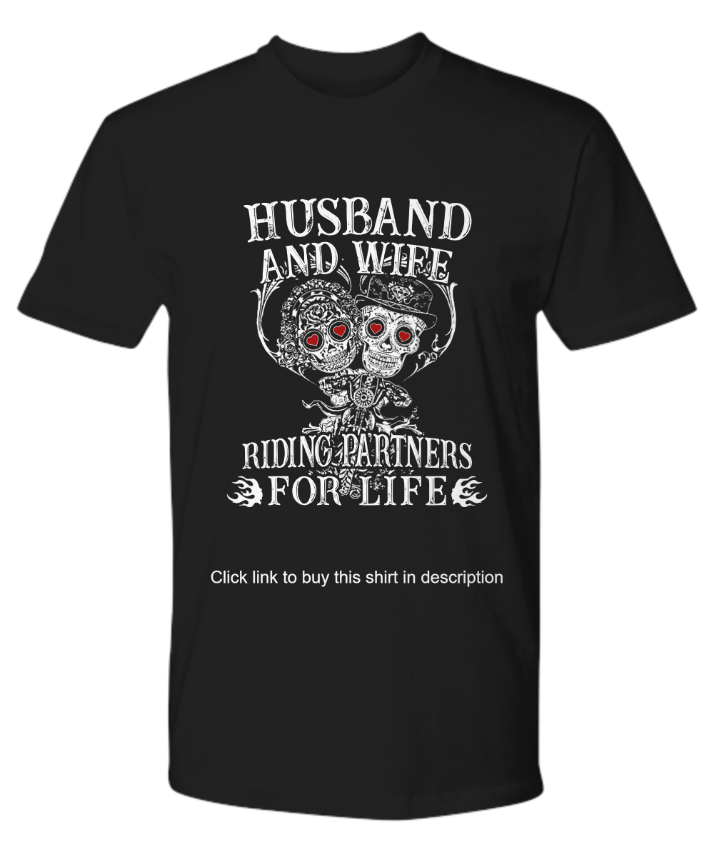 fff13a6fad [ Cool Design ] Biker skull husband and wife riding partners for life shirt