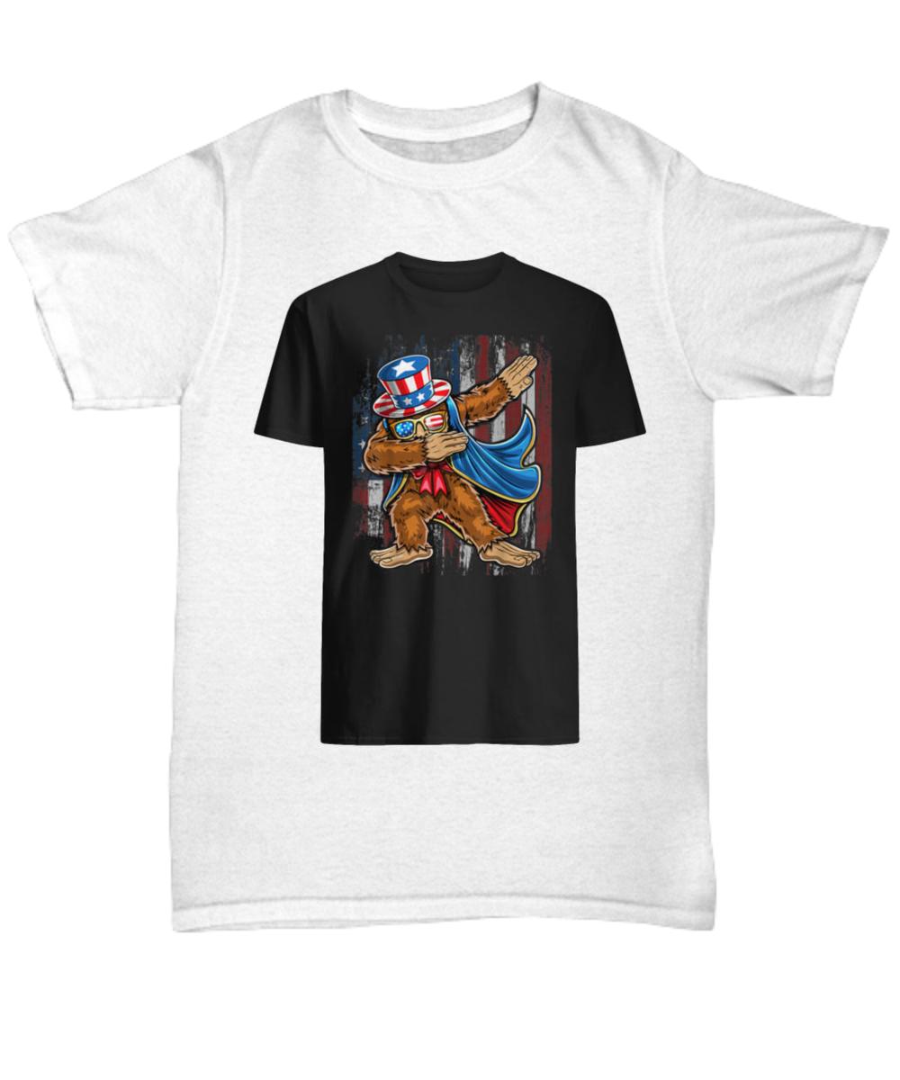 fa9f9cb34 Dabbing Bigfoot Uncle Sam American Flag 4th of July shirt. Front