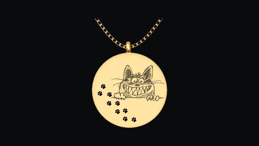 gearbubble.com - Gotta love the cat - 18K gold plate pendant