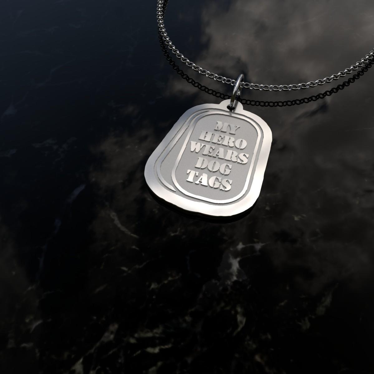 Silver USMC Dog Tag Charm