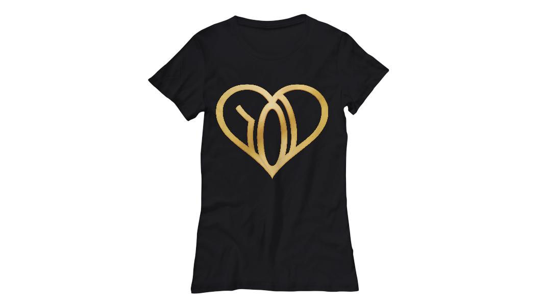 we r love womens tshirt black logo gold