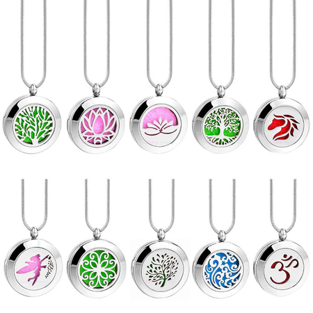 Essential oil aromatherapy diffuser necklace