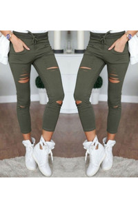 Women casual denim skinny ripped pants