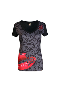 Lethal angel red lips and skulls tank