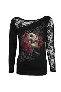 Women's 3d skull printed tops long sleeve patchwork o neck casual t shirt female sexy tees tops skull and roses