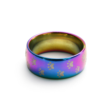 1 pc new fashion cute dog cat paw stainless steel beautiful rainbow anime pet finger rings