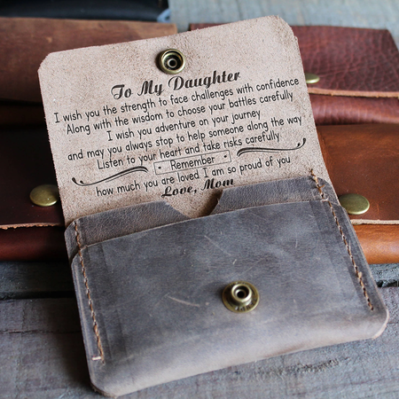 Daughter mom   i wish you   leather wallet