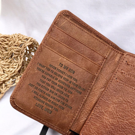 Mom To Son You Re Capable Of Achieving Anything Engraved Trifold Wallet
