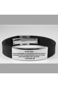 Dad to son brave blk bracelet 479