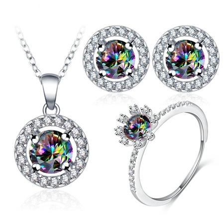 Beagloer new arrival glamorous rainbow mystic cubic zircon silver color jewelry sets earrings pendant ring for v15600025b