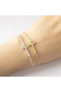 Jesus christian stainless steel womens mens horizontal sideways cross bracelets silver charm keepsake girl baby bracelet 1