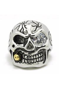 Polishing golden bullet skull ring with clear stone stainless steel men's biker ring front