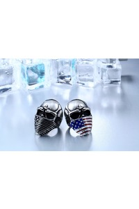 American flag men's skull biker ring main