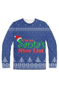 I'm on santa's nice list blue