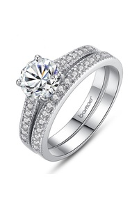 Brand luxury white gold color two ring sets for women with aaa cz wedding rings jewelry 30