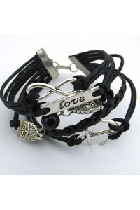 Infinity owl leather charm bracelet 2