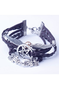 2 owl sister angel wing owls star retro leather bracelet