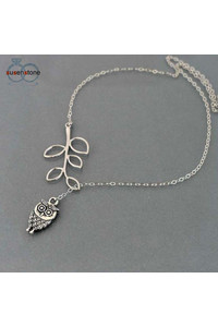 2owlsisters simple elegance little owl with leaves necklace