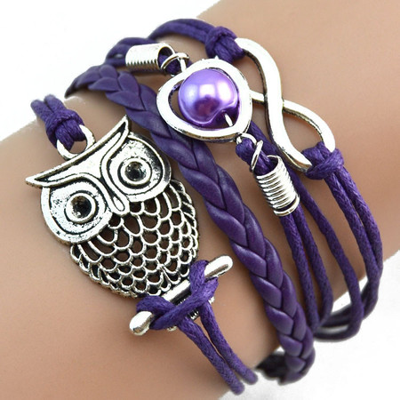 2 owl sisters infinity owl pearl friendship bracelet multi color purple