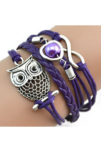 2 owl sisters infinity owl pearl friendship bracelet multi color purple