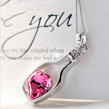 2 owl sisters bijou drift bottle necklace heart crystal stone 1