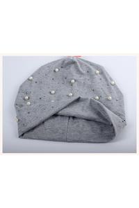 2owlsisters womens beanie hat rhinestone pearls light gray