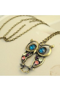 2owlsisters vintage cute hollow owl pendant necklace with jewels