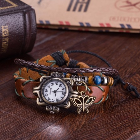 2owlsisters vintage bohemian leather bracelet watch